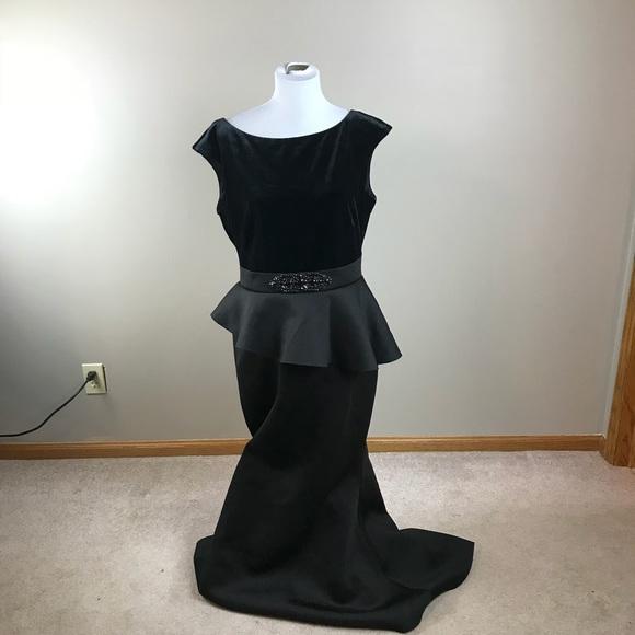 Eliza J Dresses Black Cap Sleeve Peplum Gown Poshmark